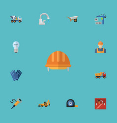 flat icons toolkit excavator worker and other vector image vector image