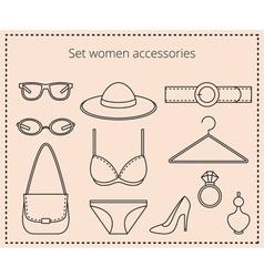 Line drawing set women accessories vector image vector image