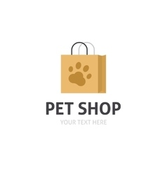 Petshop logo isolated bag with pet shop vector image