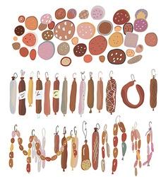 Sausages set various sorts vector image