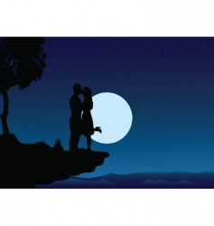 sunset kissing into the night vector image