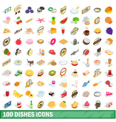 100 dishes icons set isometric 3d style vector image