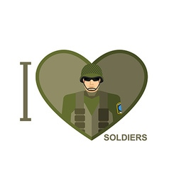 I love soldier Military man in shape of a heart vector image vector image