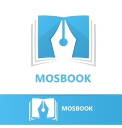 logo combination of a book and pen vector image