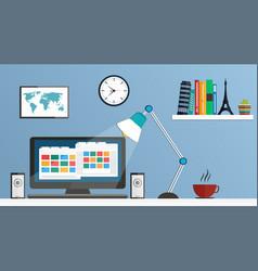 flat design desktop workspace vector image vector image