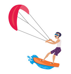 kitesurfing water extreme sports isolated design vector image