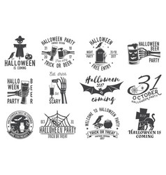 set of halloween party badges vector image vector image