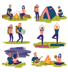 set of travelers tourists traveling yoga hiking vector image