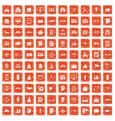 100 private property icons set grunge orange vector image