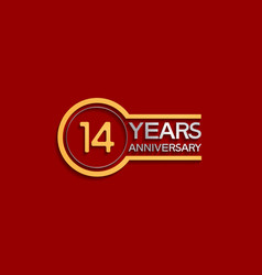 14 years anniversary golden and silver color vector
