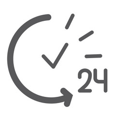 24 hours glyph icon service and time open all vector image