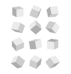 3d cube mockup rectangle boxs white blank vector