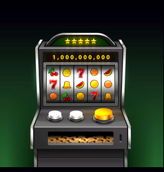 3d slots machine wins the jackpot background vector image