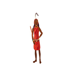 African aborigine musician in red colorful clothes vector