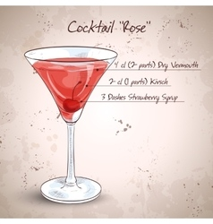 Alcoholic cocktail Rose vector image