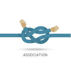 Association hands sea knot asymmetric flat style vector