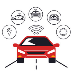 Autonomous car set icons vector