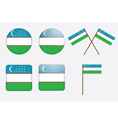 badges with flag of Uzbekistan vector image