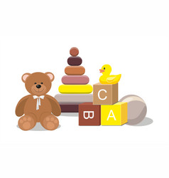 bear and clorful toys isolated on white background vector image