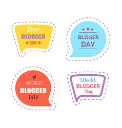 blogger day sticker wth text thought bubble vector image