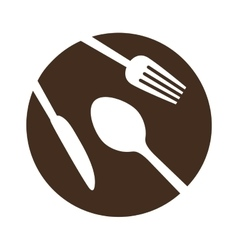 Brown plate with cutlery icon image vector