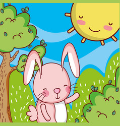 bunny in the forest doodle cartoon vector image