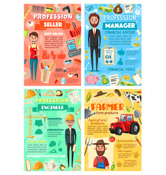 Business manager seller farmer and engineer vector