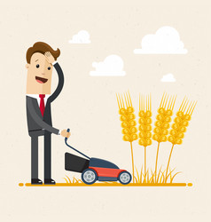 Businessman harvesting a man in a suit is vector