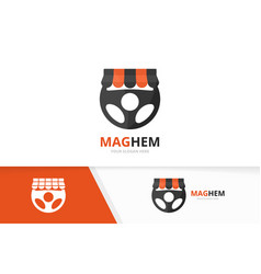 car helm and shop logo combination vector image vector image