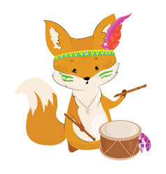 Cartoon fox with an indian headdress made of vector