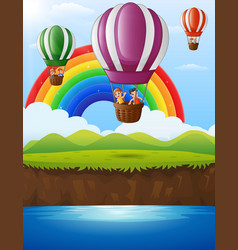 cartoon kids inside a hot air balloon flying over vector image