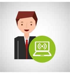 cartoon man laptop connected wifi vector image