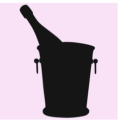 Champagne bottle in a ice bucket vector