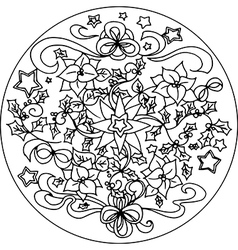 Christmas coloring mandala vector