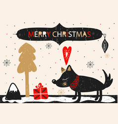 christmas holiday card with hand drawn style vector image