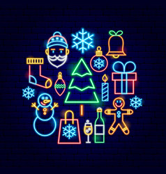 christmas neon concept vector image