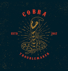 cobra snake on grunge background design element vector image