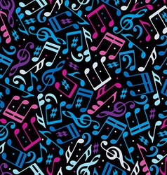 Colorful dotted music seamless pattern with vector