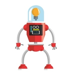 Colorful red robot with lightbulb head icon vector
