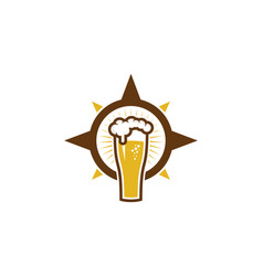 compass beer logo icon design vector image