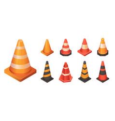 cone traffic icon set isometric style vector image