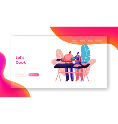 couple cooking together outdoor landing page vector image