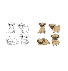 Cute pugs dogs hand drawing isolated objects on vector