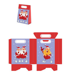 cute santa claus handbags packages pattern vector image