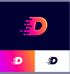 D letter winds movement dynamic logo velocity deli vector