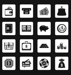 Different money icons set squares vector