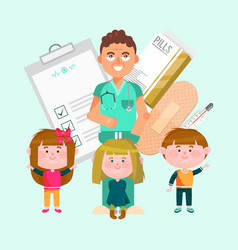 doctor and happy active kids vector image
