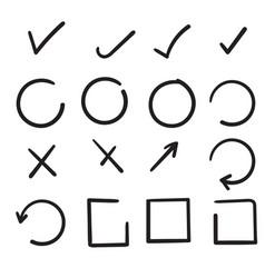doodle hand drawn check signs v mark vector image