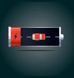 electric car concept auto battery with red vector image