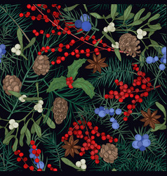 Elegant seamless pattern with winter seasonal vector